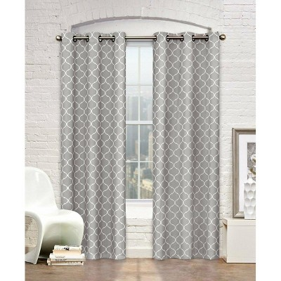 Kate Aurora Gray & White Lattice Clover Ultra Luxurious Window Curtains - 38 in. W x 84 in. L, Gray & White