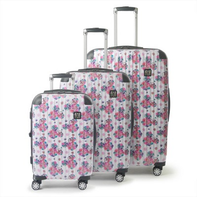 FUL Disney Minnie Mouse 3pc Hardside Rolling Luggage Set - Floral