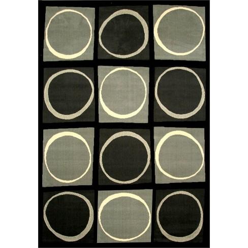 Abacasa Terra Checkers Black-Grey-Ivory 8x10 Area Rug - Sam's International - image 1 of 1