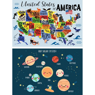 USA Map and Solar System Placement Set of 2 - A & A Story