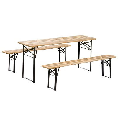 Outsunny 6' Wooden Outdoor Folding Patio Camping Picnic Table Set with Bench