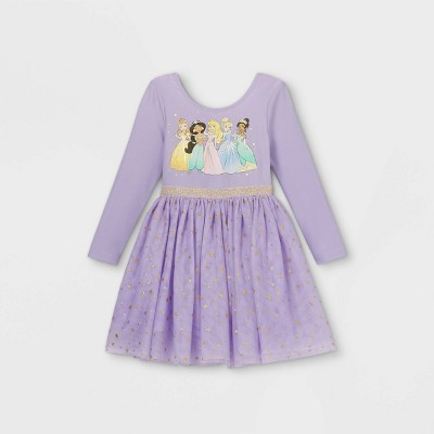 Toddler Girls' Disney Princess Long Sleeve Tutu Dress - Purple