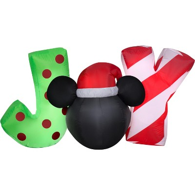 """Gemmy Christmas Airblown Inflatable Inflatable Mickey Mouse """"JOY"""" Sign, 2.5 ft Tall, Black"""