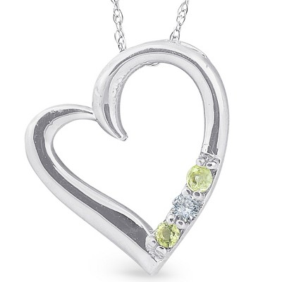 "Pompeii3 Diamond & Peridot Heart Pendant 3-Stone 10K White Gold with 18"" Chain"