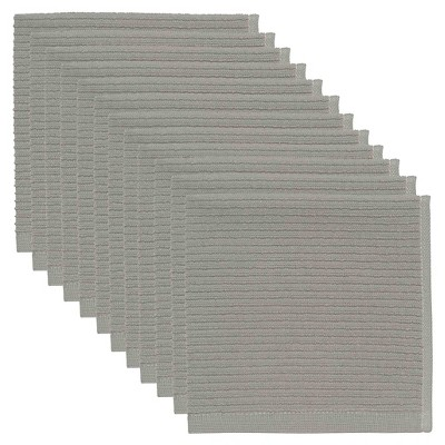 Gray Turkish Cotton Ripple Dishcloths (Set Of 12)