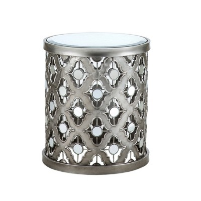 Jerel Quatrefoil Mirror Accent Table   Silver
