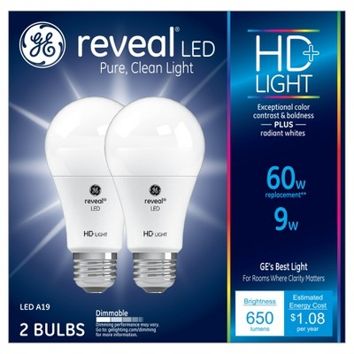 General Electric 2pk 60W A19 LED Light Bulb White
