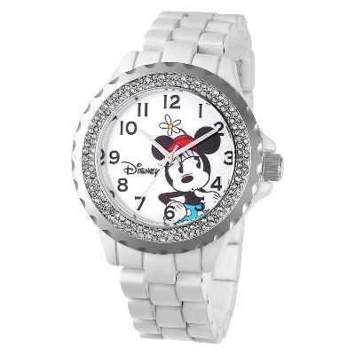 Women's Disney Minnie Mouse Enamel Sparkle Watch - White