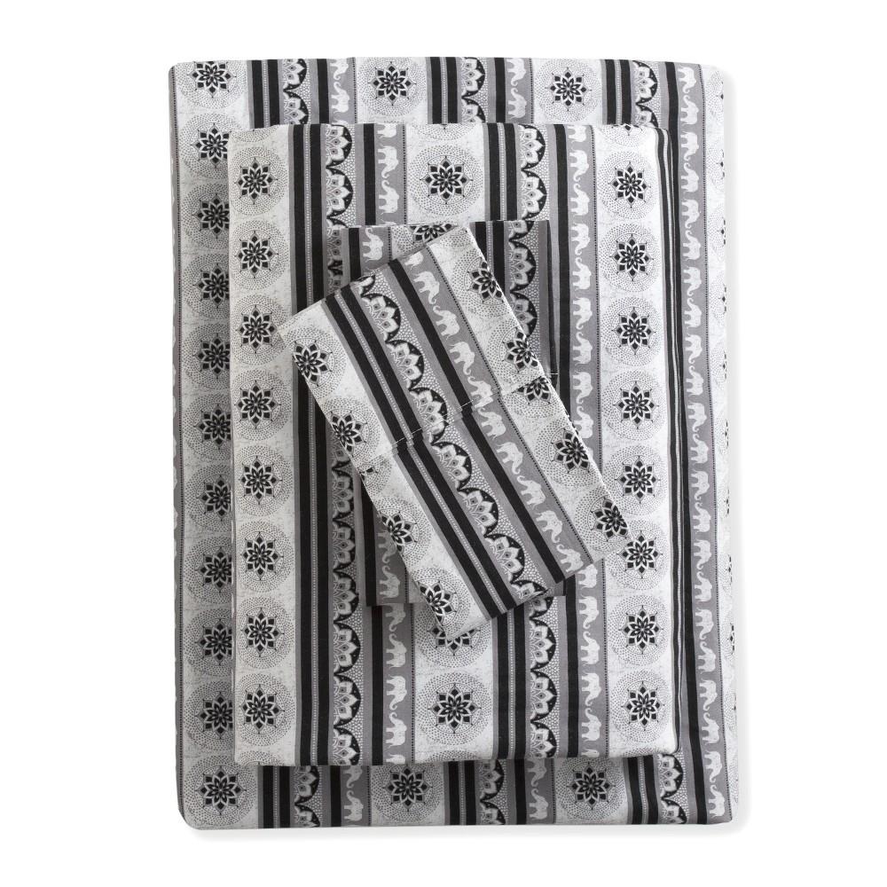 Image of Pre-Washed Cotton Printed Sheet Set California King Black