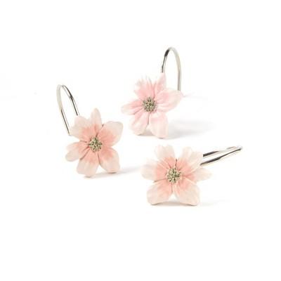 "Saturday Knight Ltd ""Misty"" Floral Beautiful Bath Shower Curtain Hooks Set of 12 -Pink"