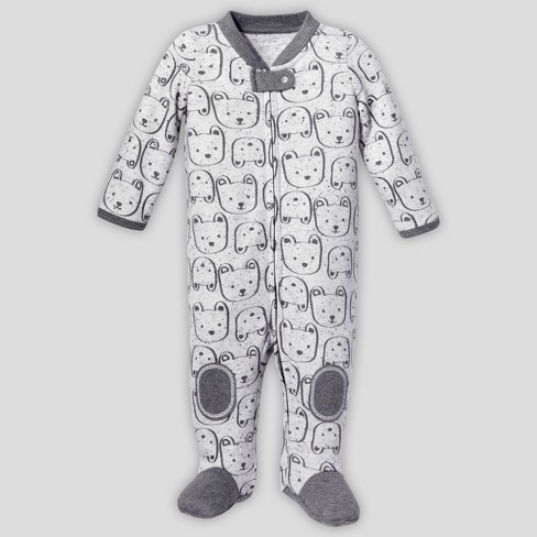 Lamaze Baby Boys' Organic Cotton Bear Sleep 'N Play - Gray - image 1 of 2