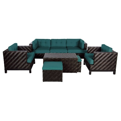 Rachel 8pc All-Weather Wicker Patio Deep Seating Set - Spectrum Peacock - AE Outdoor - image 1 of 2