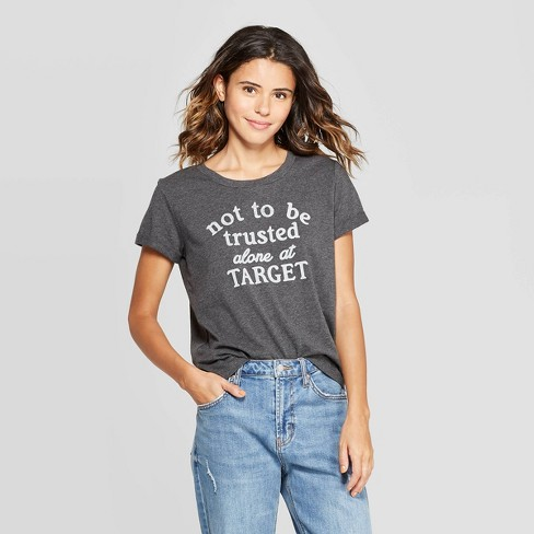 Women's Short Sleeve Not Trusted At Target T-Shirt - Fifth Sun (Juniors') - Charcoal Heather - image 1 of 2