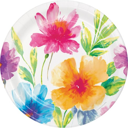 24ct Watercolor Floral Paper Plates Target