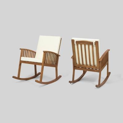 Casa 2pk Acacia Wood Rocking Chair Brown/Cream - Christopher Knight Home
