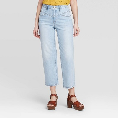 Women's High-Rise Yoke Straight Fit Cropped Jeans - Universal Thread™ Light Blue