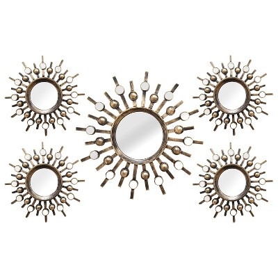 Burst Wall Mirrors (Set of 5 )- Stratton Home Decor