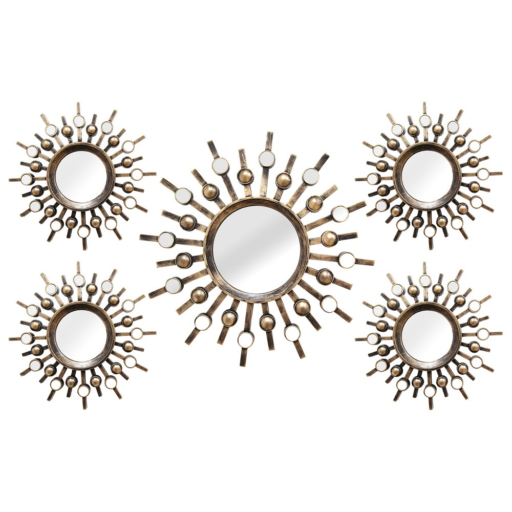 Burst Wall Mirrors (Set of 5 ) - Stratton Home Decor, Golden Bronze
