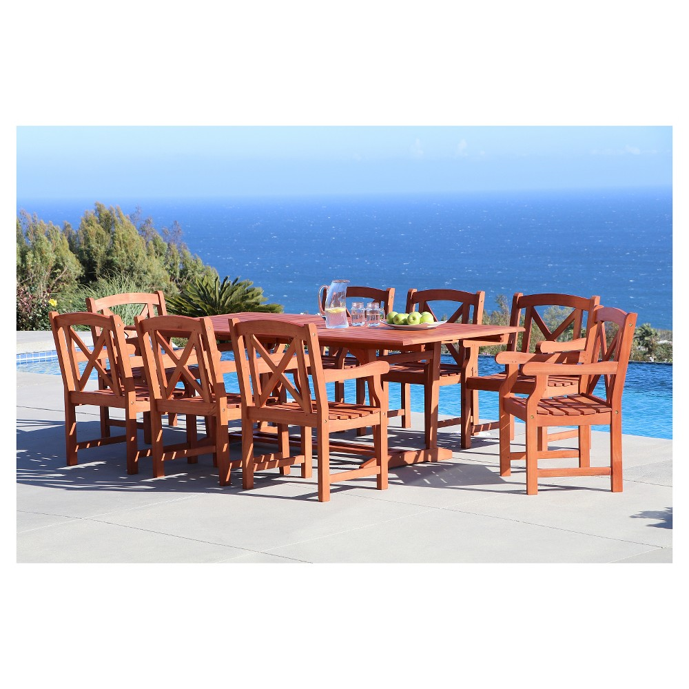Vifah Malibu Eco-friendly 9-Piece Outdoor Dining Set with Rectangle Extension Table and Arm Chairs - Brown