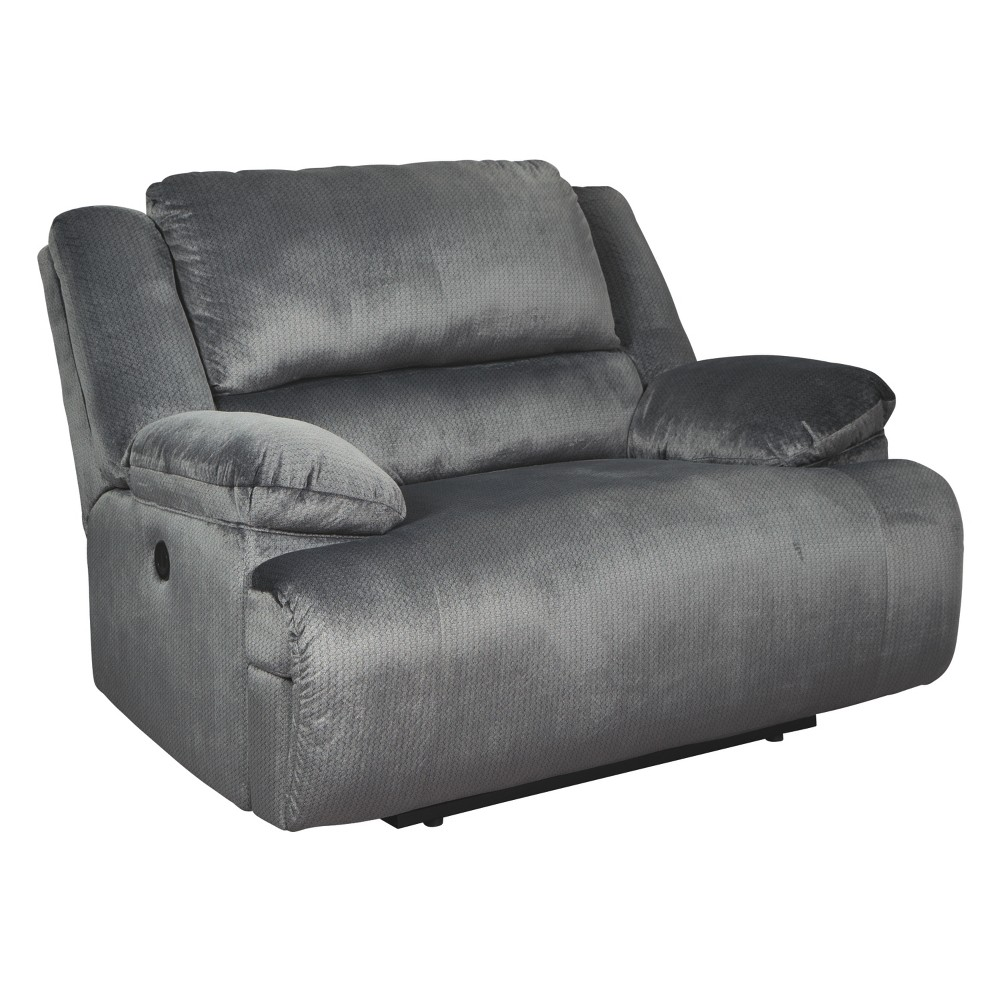 Clonmel Zero Wall Wide Seat Recliner Charcoal Heather Gray - Signature Design by Ashley