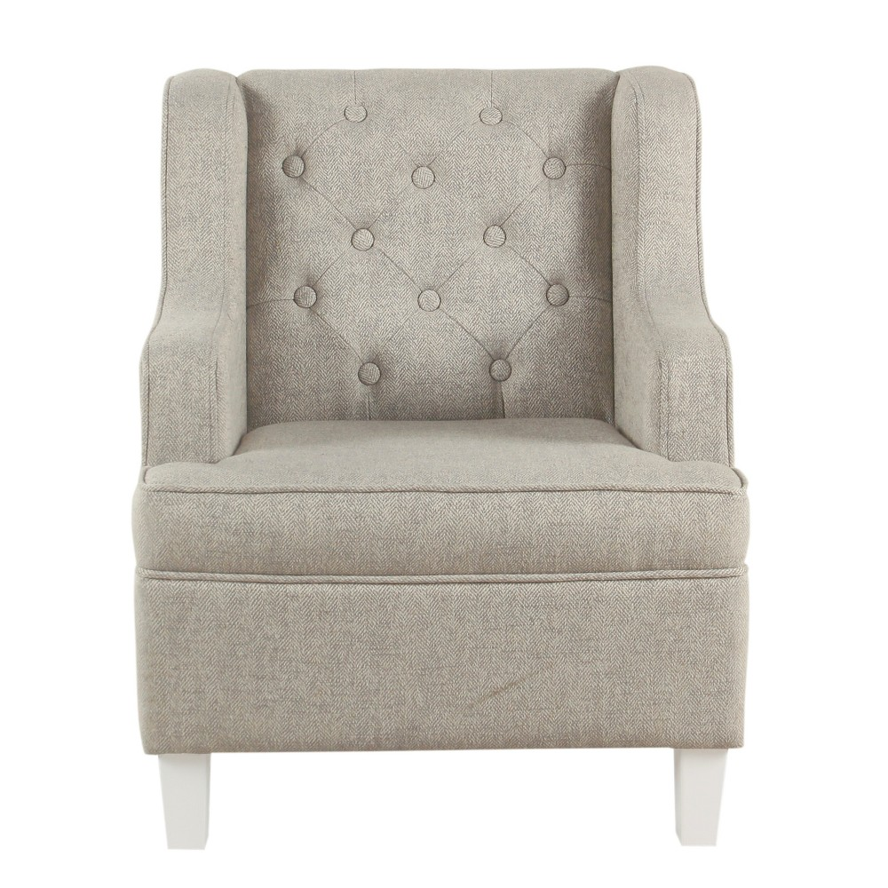 Kids Tufted Wingback Chair Textured Stain Resistant Gray - HomePop