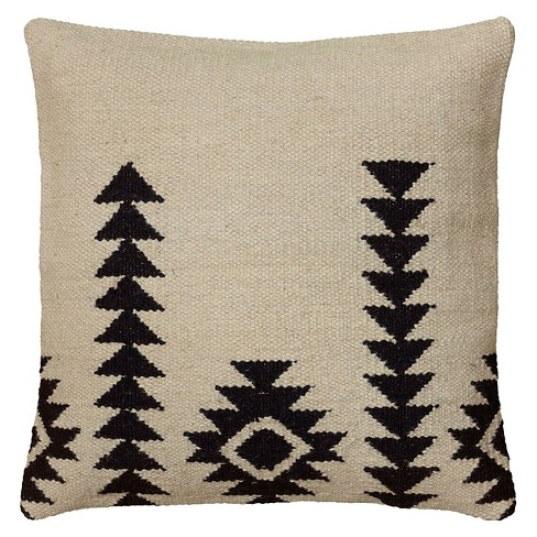 """18""""x18"""" Textured Southwestern Striped Throw Pillow Ivory/Black - Rizzy Home - image 1 of 4"""