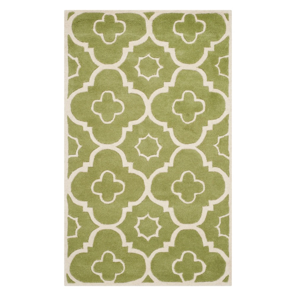 3X5 Geometric Accent Rug Green/Ivory - Safavieh Top