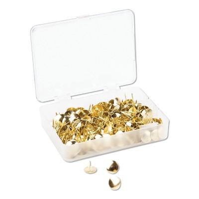 """U Brands Fashion Metal Thumbtacks, Metal, Gold, 3/8"""", 200/Pack 3091U0624"""