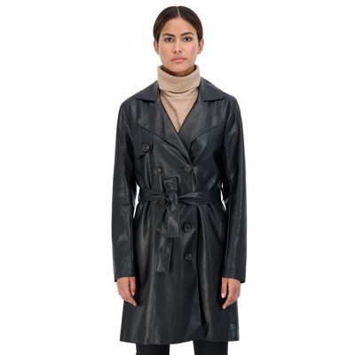 Sebby Collection Women's Faux Leather Trench Coat