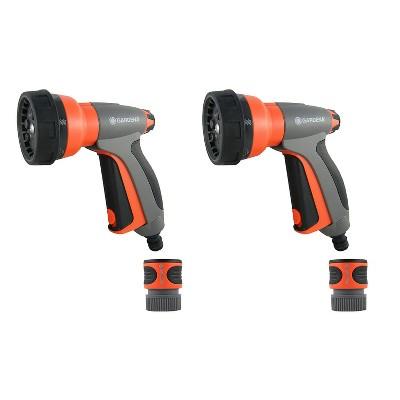 Gardena 32121 Multi Purpose 7 in 1 Metal Hose Spray Gun with Flow Control, Orange (2 Pack)