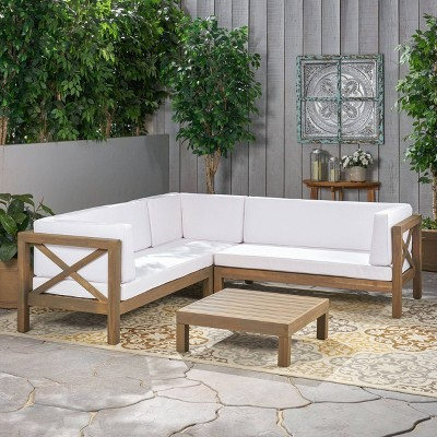 Brava 4pc Wood Patio Chat Set w/ Cushions - White - Christopher Knight Home