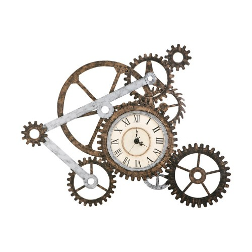 Gear Wall Art with Clock Rusty Finish - Southern Enterprises