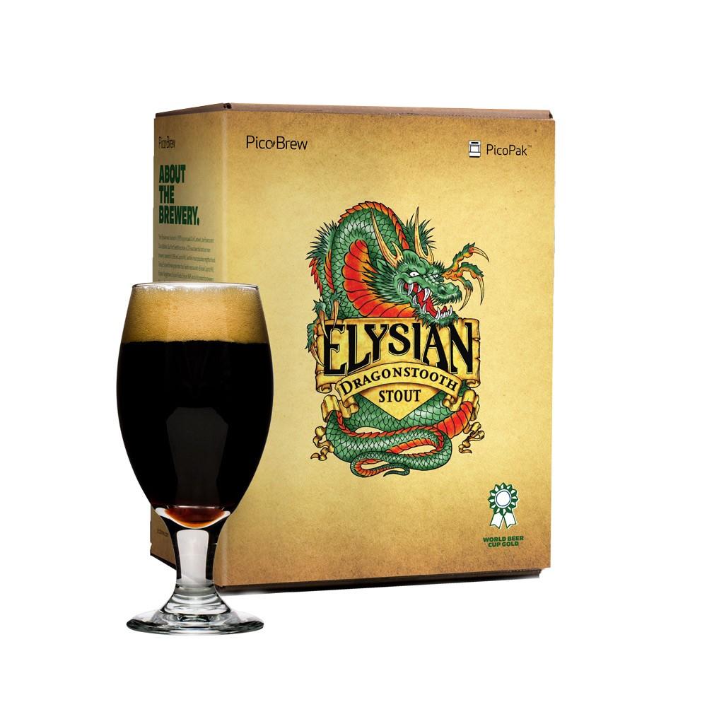 Pico Brew Elysian Dragonstooth Stout PicoPak Brewing & Bottling Set, Clear