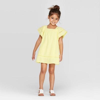 Toddler Girls' Embroidered Shift A-Line Dress - art class™ Yellow 18M