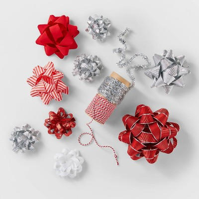 Red/White/Silver Deluxe Bow & Ribbon Kit - Wondershop™