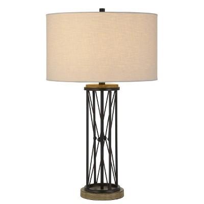 "30"" 3-way Tall Sabinanigo Metal Table Lamp with Hardback Round Shade Gray - Cal Lighting"