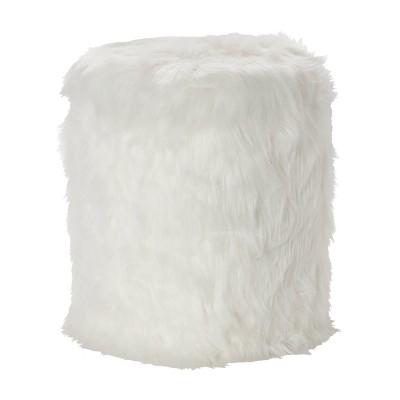 Storage Stool Faux Fur White - Olivia & May