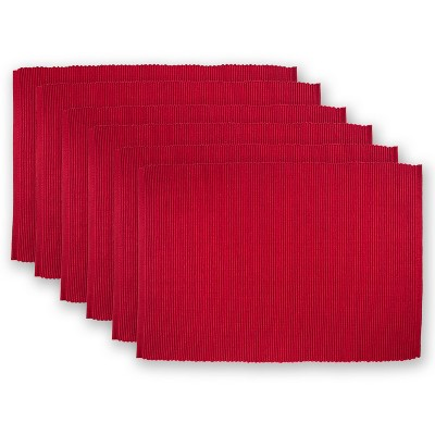 Set of 6 Ribbed Placemat Red - Design Imports