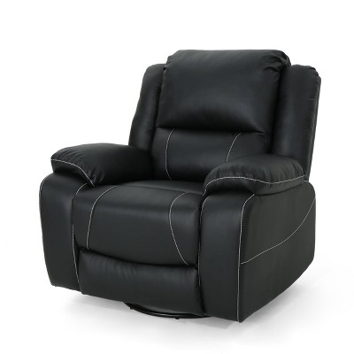 Malic Classic Tufted PU Leather Swivel Recliner - Christopher Knight Home