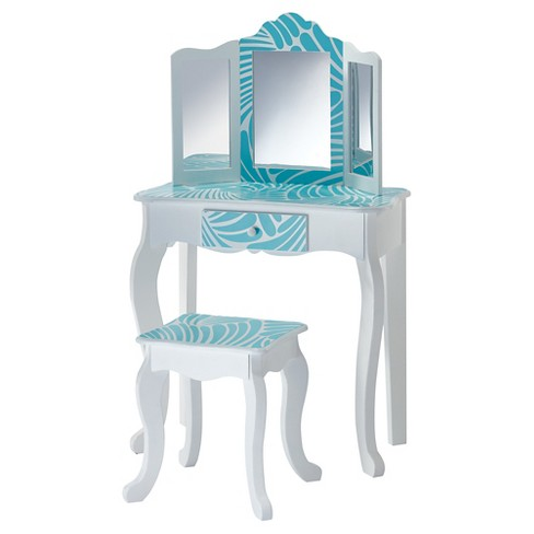 Fabulous Fashion Prints Tropical Vanity Table Stool Set Teamson Kids Machost Co Dining Chair Design Ideas Machostcouk