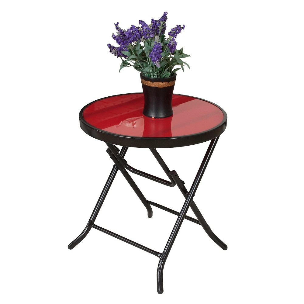 "Image of ""18"""" Patio Folding Side Table - Red - Captiva Design"""