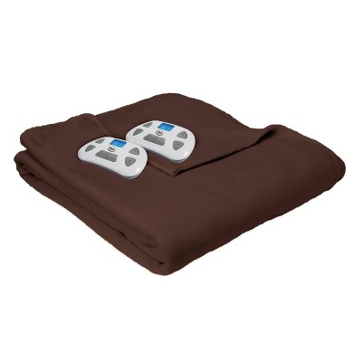 Full Microfleece Electric Bed Blanket Chocolate - Serta