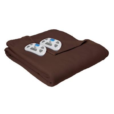 Full Microfleece Electric Bed Blanket Chocolate - Serta