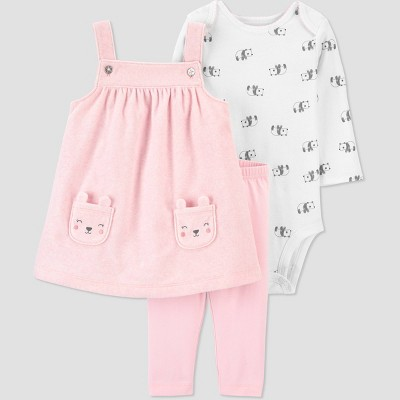 Baby Girls' 3pc Bear Tunic Top & Bottom Set - Just One You® made by carter's Pink 12M