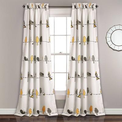 Rowley Birds Room Darkening Window Curtain Panels - Lush Décor