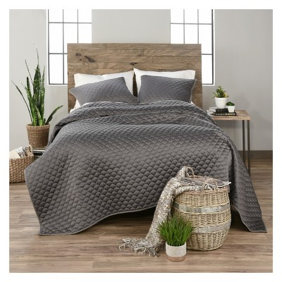 3pc King Ella Quilt Set Charcoal - Vue Elements