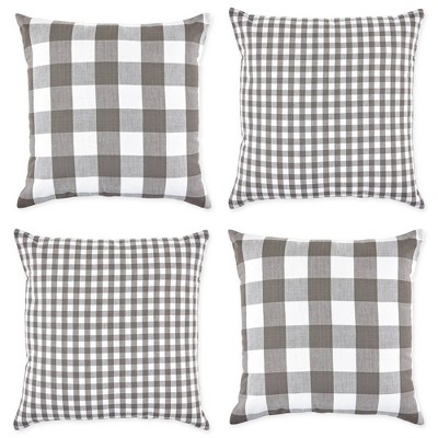 """4pk 18""""x18"""" Gingham Buffalo Check Assorted Square Throw Pillow Covers Gray/White - Design Imports"""