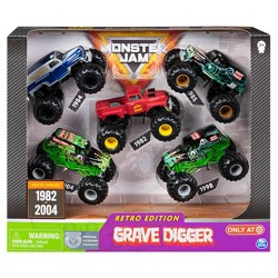 Monster Jam Grave Digger Diecast Vehicle 1:64 Scale - Retro Edition 5 pack