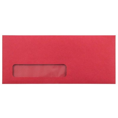 JAM Paper 50pk 4 1/8 x 9 1/2 #10 Business Recycled Window Envelopes - Red