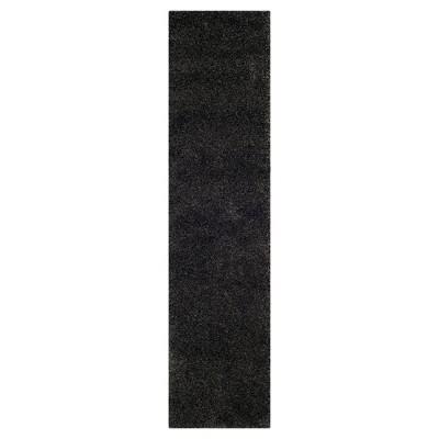 Dark Gray Solid Shag/Flokati Loomed Runner - (2'X8' Runner)- Safavieh